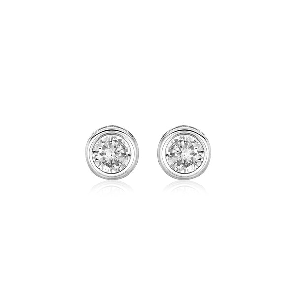 Sterling Silver Round Bezel Set Cubic Zirconia Earrings