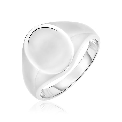 Sterling Silver Polished Oval Crown Ring