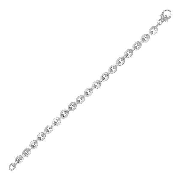 Shiny Oval Link Bracelet in 14k White Gold