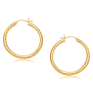 14K Yellow Gold Hoop Earring with Diamond-Cut Finish (30 mm Diameter)
