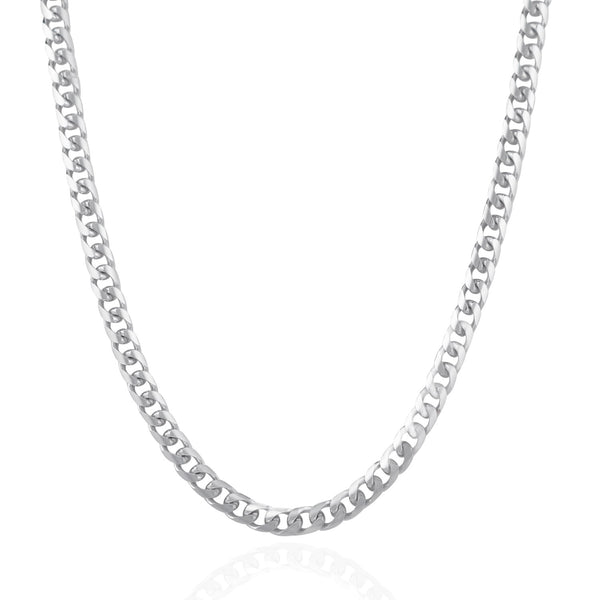 4.4mm 14k White Gold Solid Miami Cuban Chain