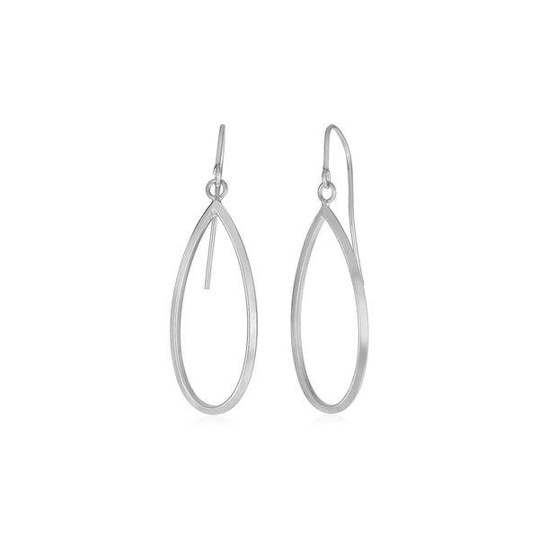 14k White Gold Earrings with Polished Open Teardrop Dangles