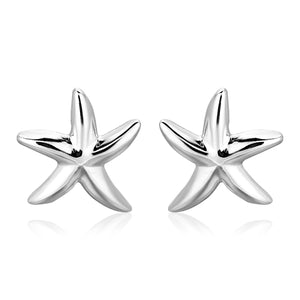 Sterling Silver Large Polished Starfish Earrings