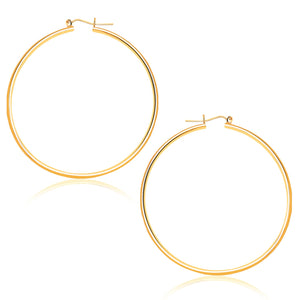 14K Yellow Gold Polished Hoop Earrings (45 mm)