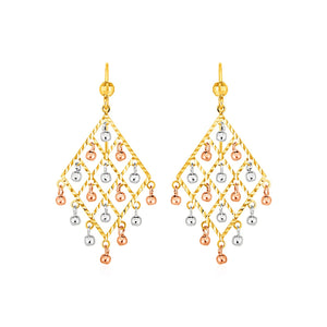 Textured Chandelier Earrings with Ball Drops in 14k Tri Color Gold