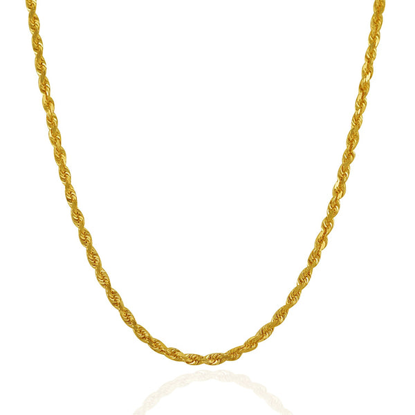 3.0mm 14k Yellow Gold Solid Diamond Cut Rope Chain