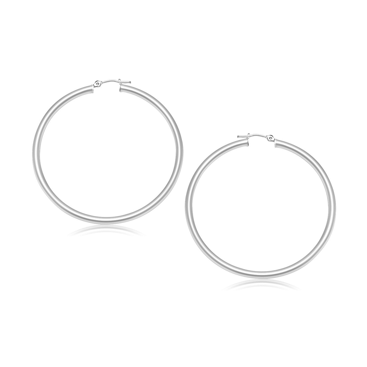 14K White Gold Polished Hoop Earrings (30 mm)