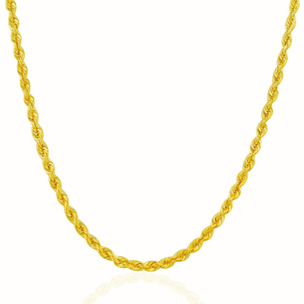 3.0mm 14k Yellow Gold Solid Rope Chain
