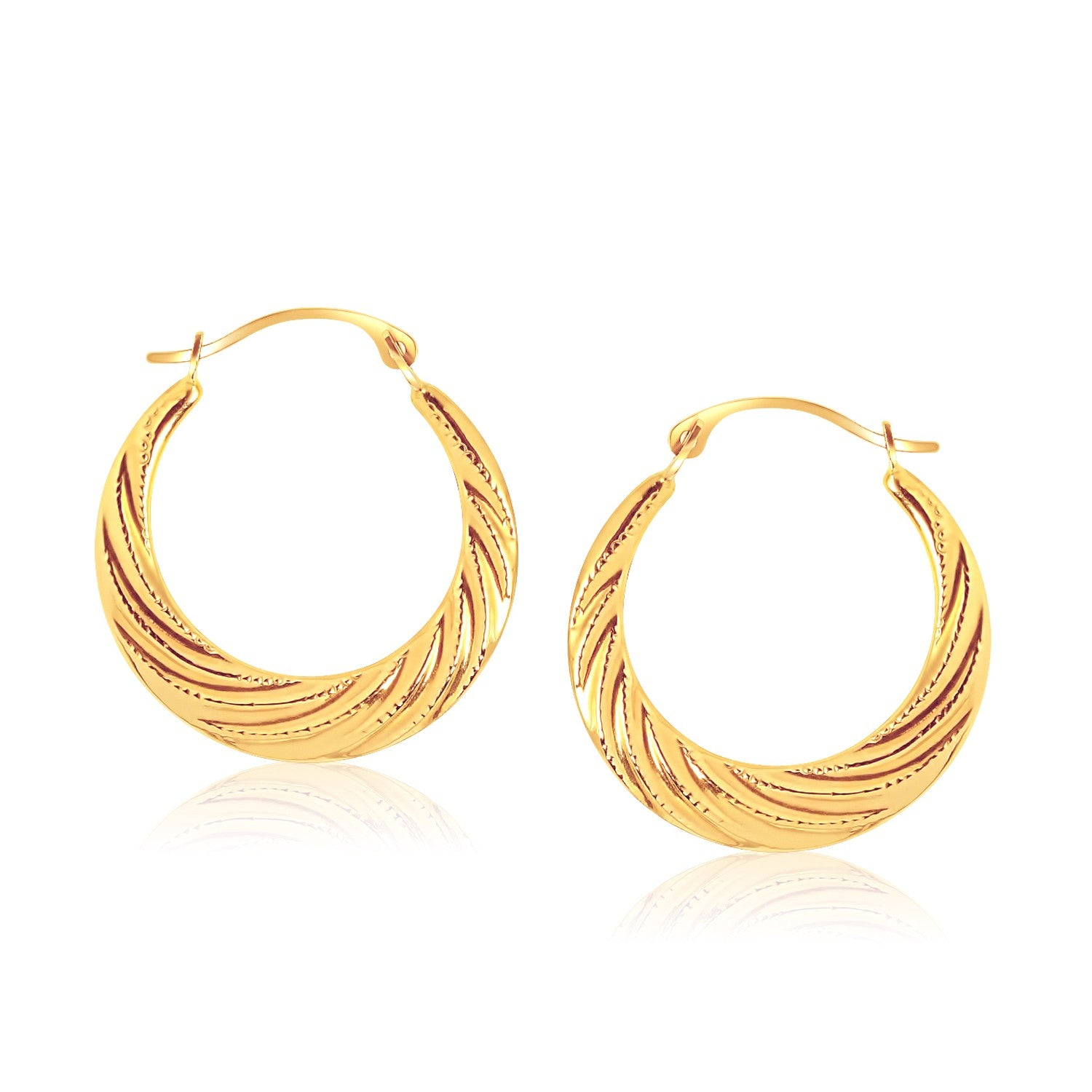 14K Yellow Gold Textured Graduated Twist Hoop Earrings