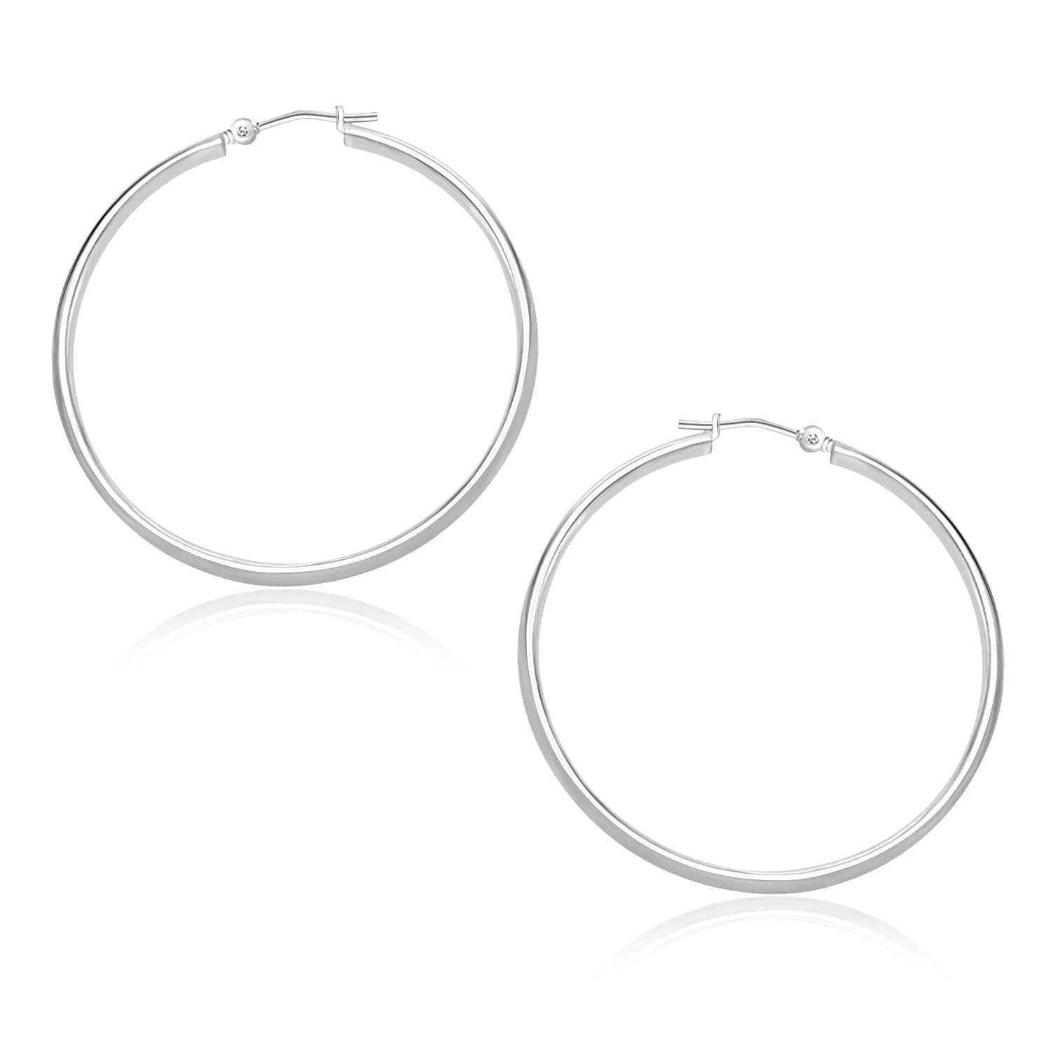 14K White Gold Polished Hoop Earrings (30mm)