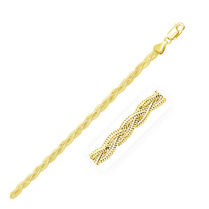 3.5mm 14k Yellow Braided Foxtail Anklet