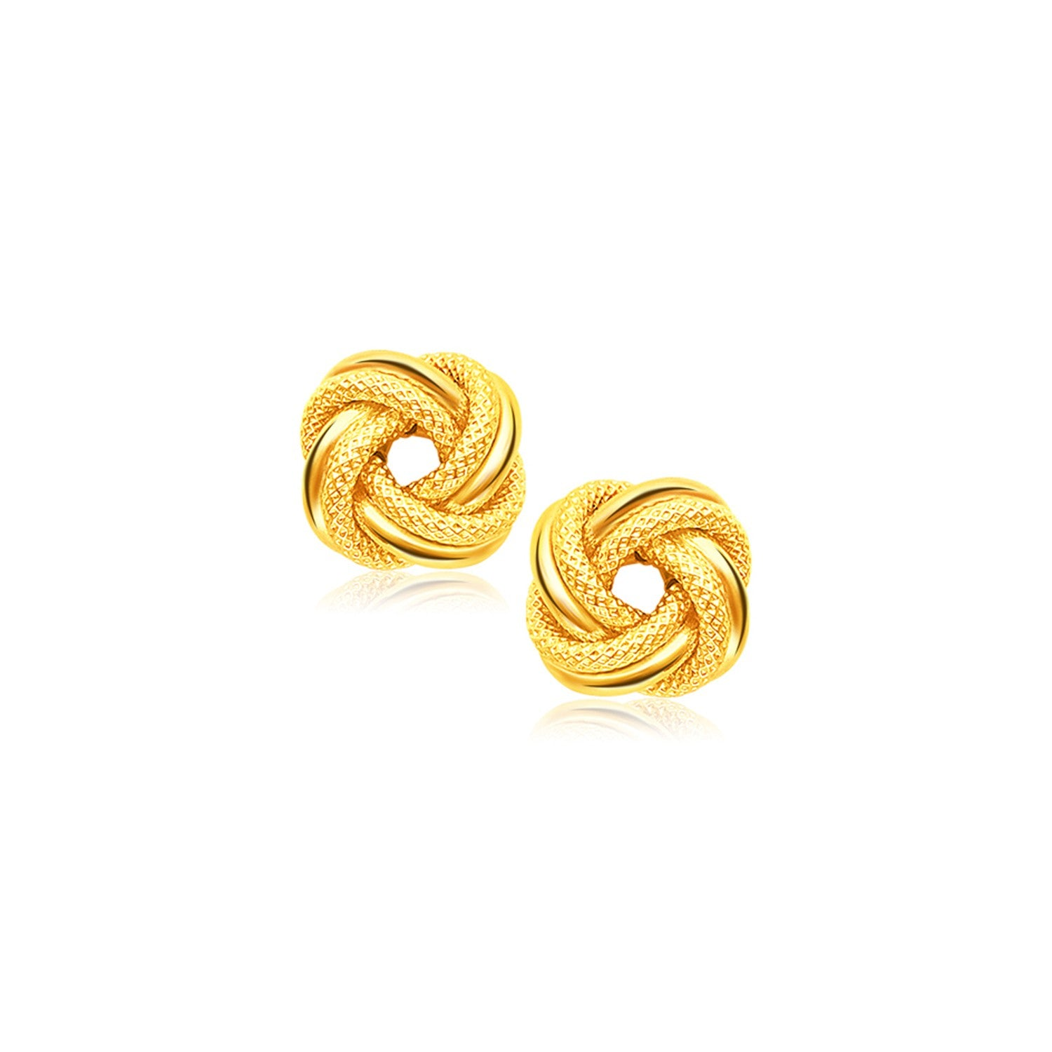 14K Yellow Gold Intertwined Love Knot Stud Earrings