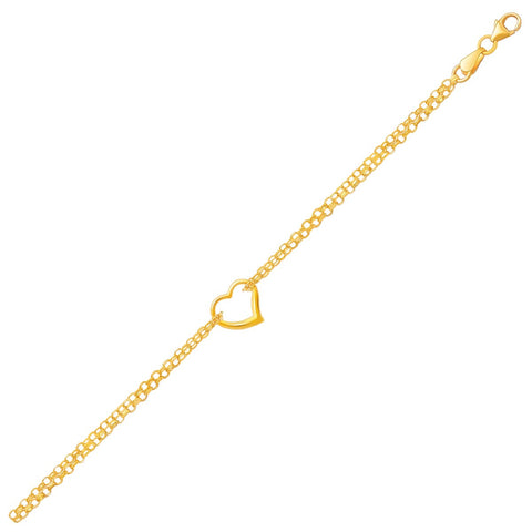 14k Yellow Gold Double Rolo Chain Anklet with an Open Heart Station