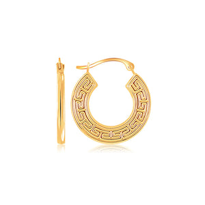 14K Yellow Gold Greek Key Small Hoop Earrings