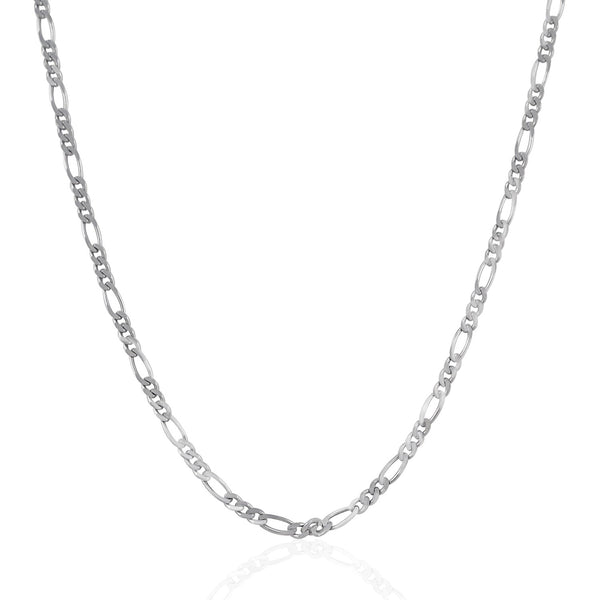 2.6mm 14k White Gold Solid Figaro Chain