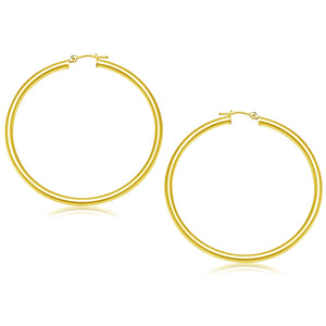 14K Yellow Gold Polished Hoop Earrings (50 mm)