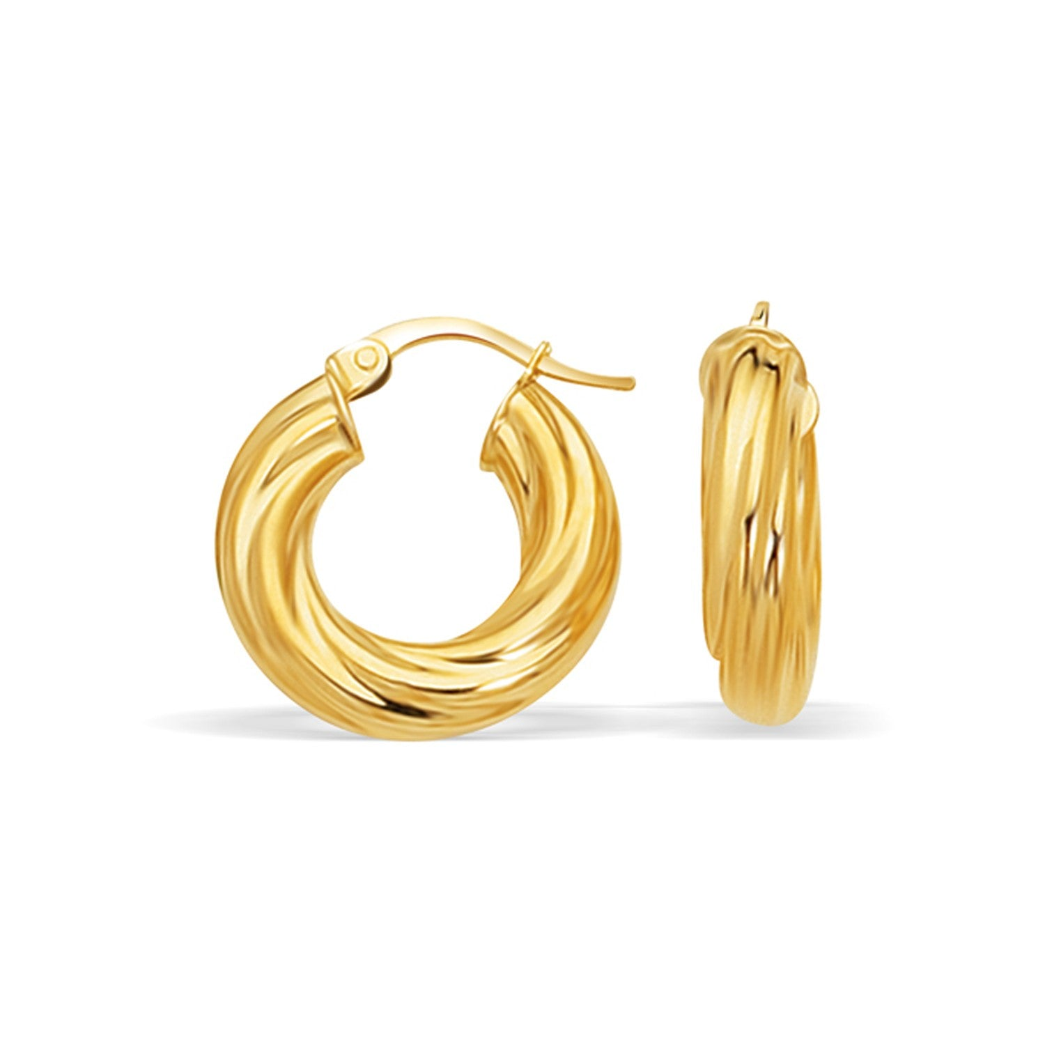 14K Yellow Gold Fancy Twist Hoop Earrings (7/8 inch Diameter)