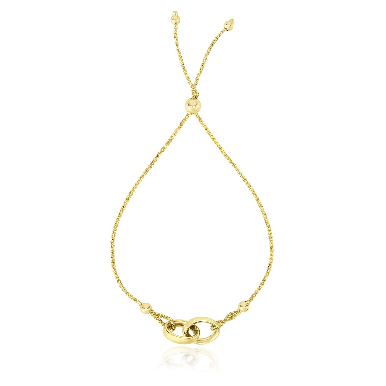 14k Yellow Gold Entwined Rings Adjustable Lariat Style Bracelet