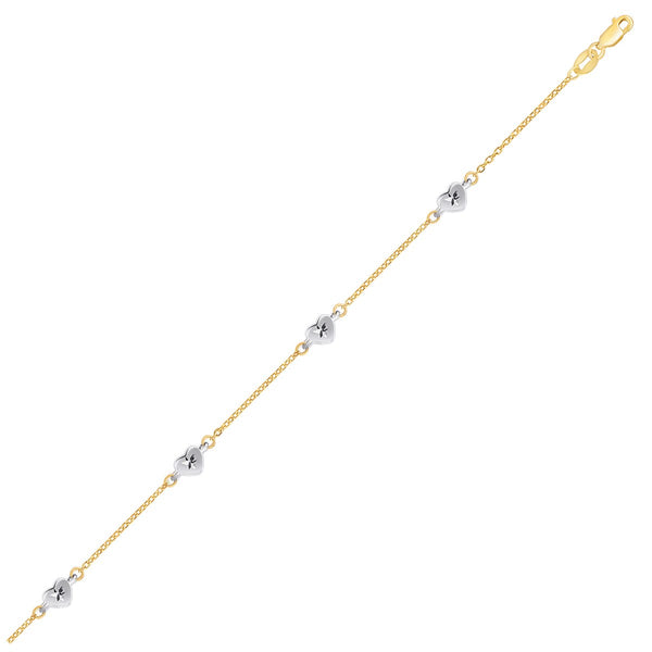 14K Two Tone Gold Anklet with Diamond Cut Heart Style Stations