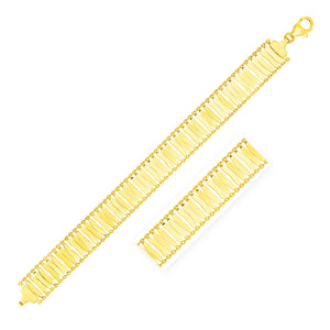 14K Yellow Gold Polished Organic Bar Motif and Chain Bracelet