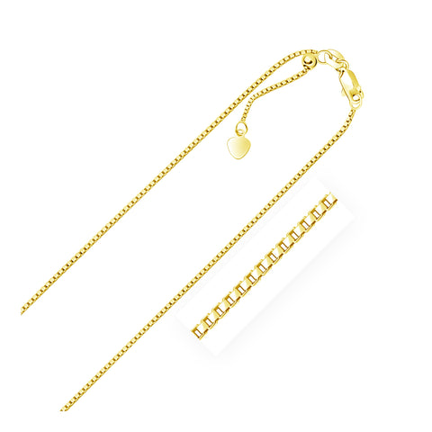 14k Yellow Gold Adjustable Box Chain 1.1mm