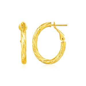 14k Yellow Gold Petite Twisted Oval Hoop Earrings