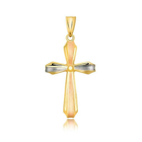 14k Tri Color Gold Cross Motif Pendant with Textured Finish