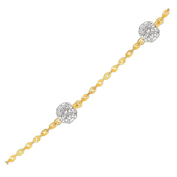 14k Yellow Gold Bracelet with Crystal Studded Ball Stations