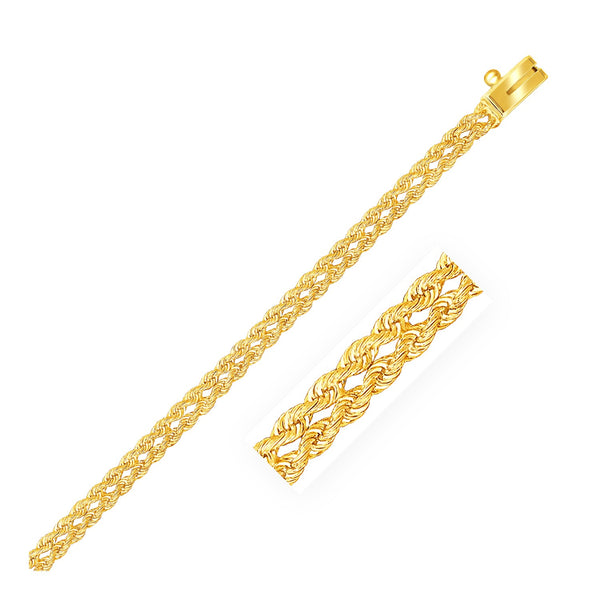 3.0 mm 14k Yellow Gold Two Row Rope Bracelet