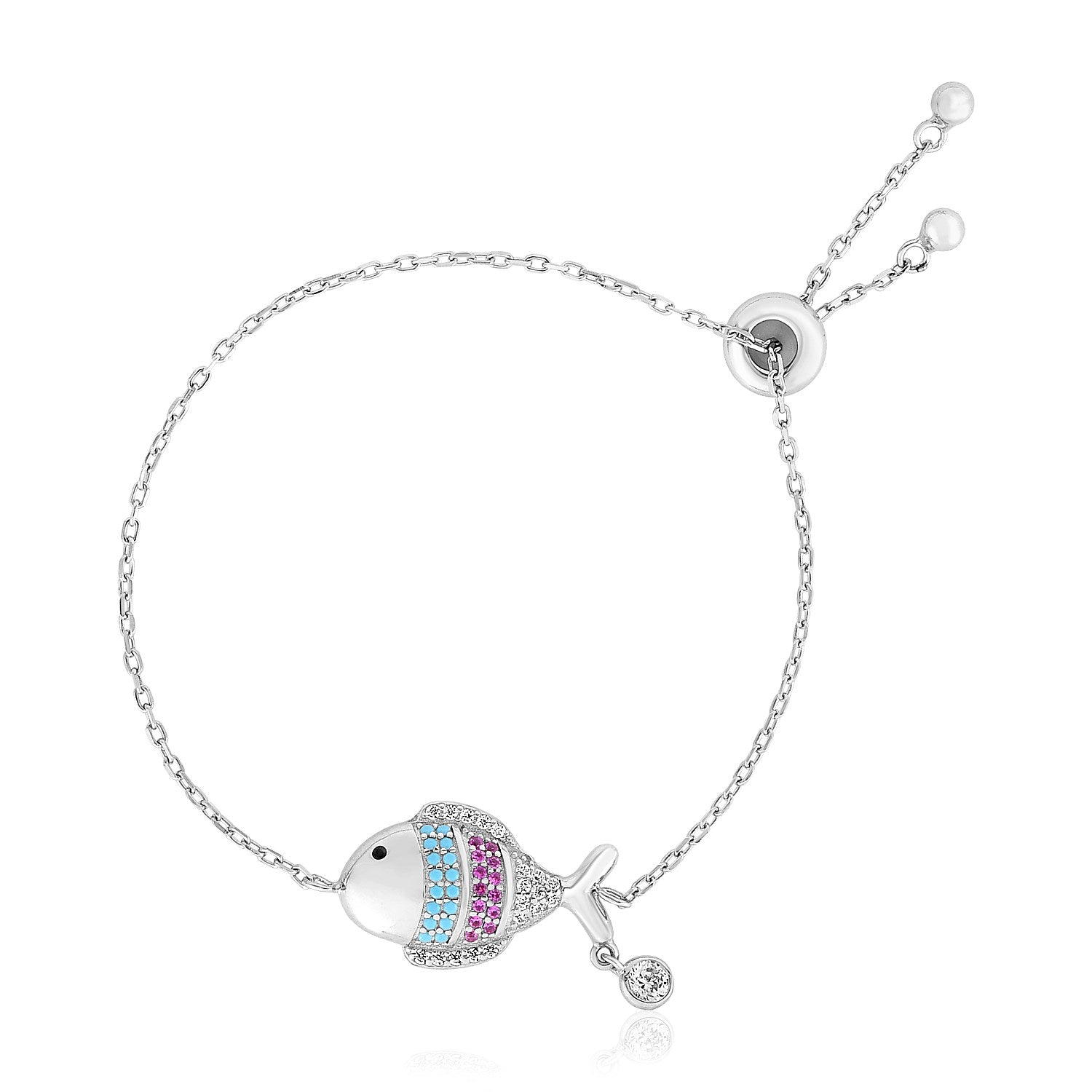 Sterling Silver 9 1/4 inch Adjustable Bracelet with Fish with Cubic Zirconias
