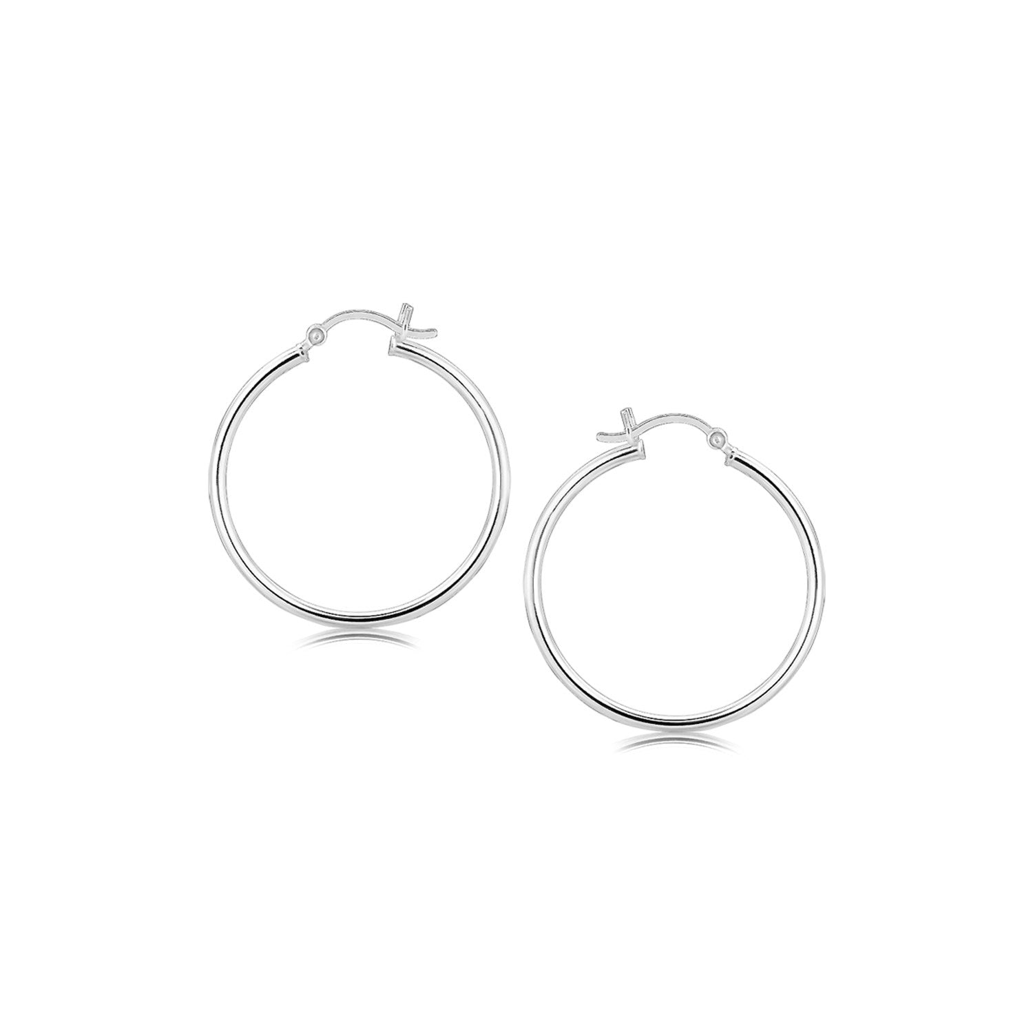 Sterling Silver Thin Polished Hoop Style Earrings with Rhodium Plating (30mm)