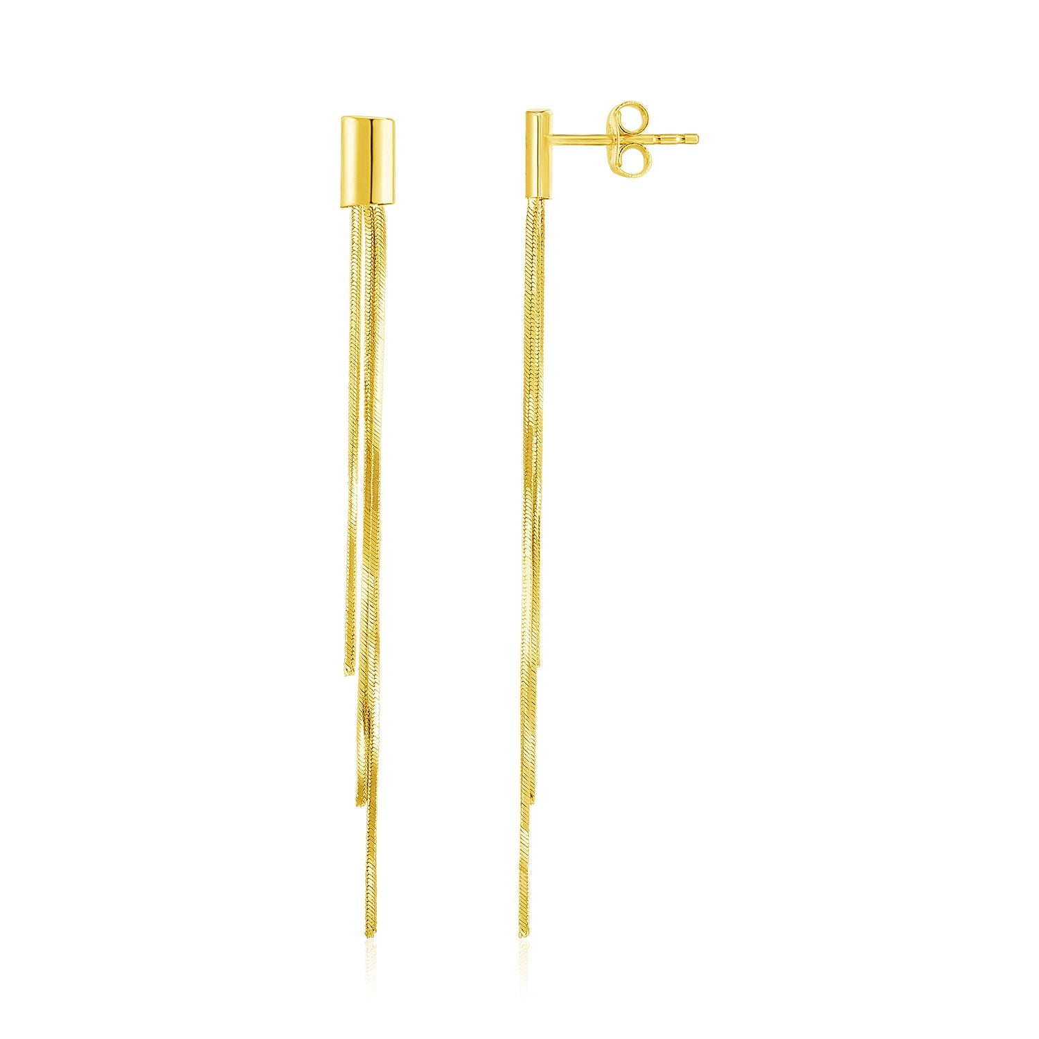 14k Yellow Gold Post Earrings with Long Chains