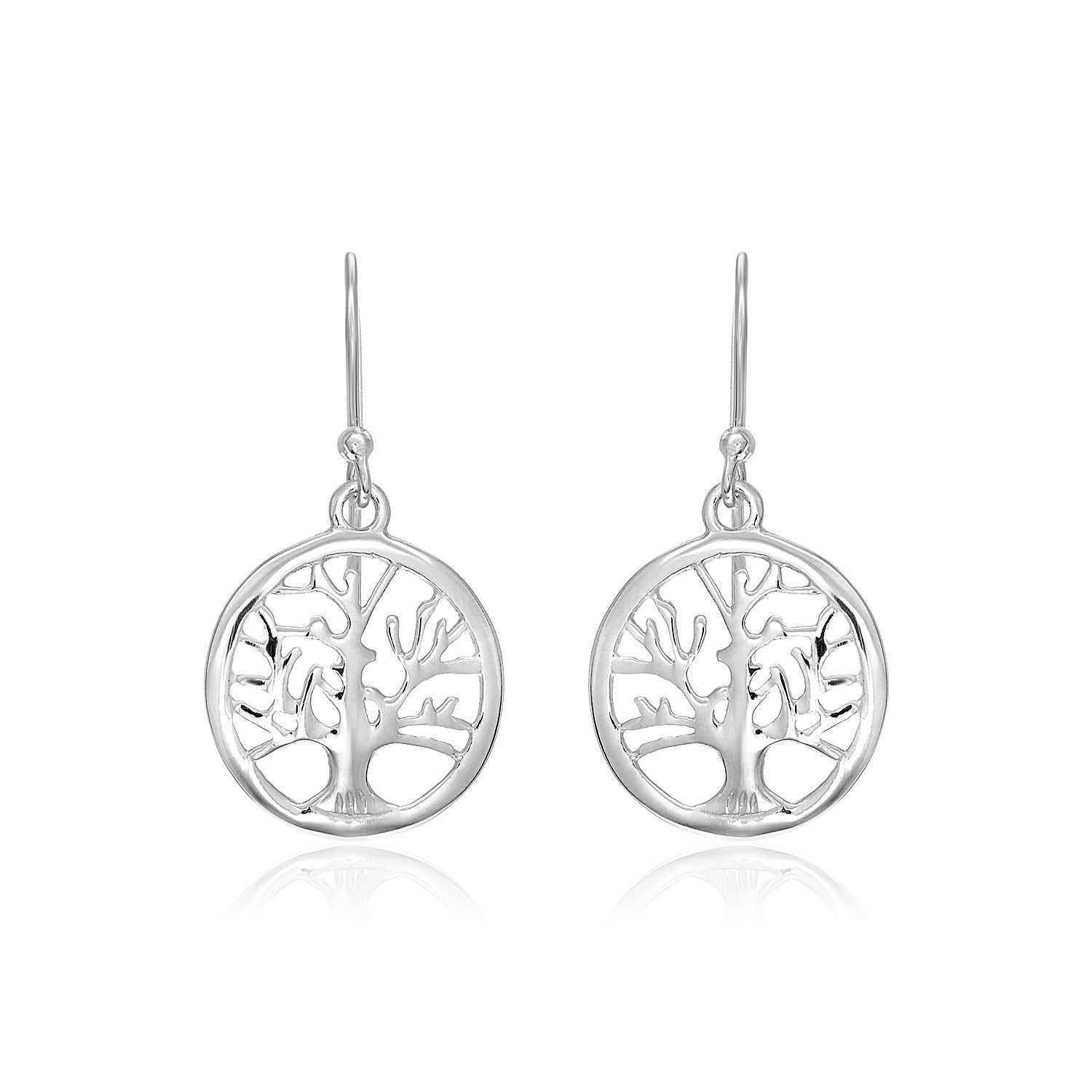 Sterling Silver Round Tree of Life Earrings