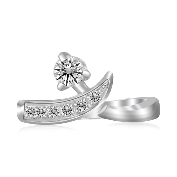 Sterling Silver Rhodium Plated Crossover Cubic Zirconia Accented Toe Ring