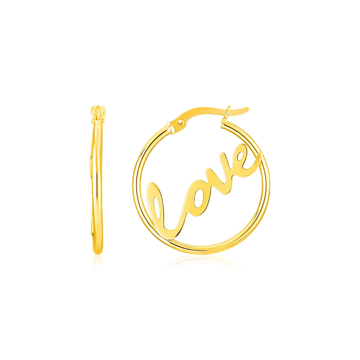 14K Yellow Gold Love Hoop Earrings