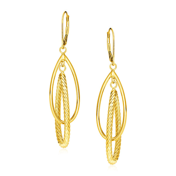 14k Yellow Gold Earrings with Shiny and Textured Teardrop Dangles