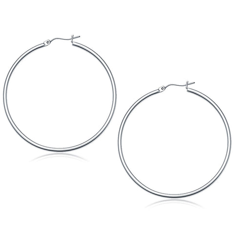 10K White Gold Polished Hoop Earrings (50 mm)