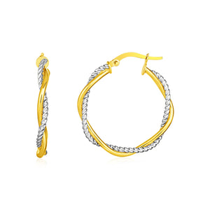 14k Yellow and White Gold Two Part Textured Twisted Round Hoop Earrings