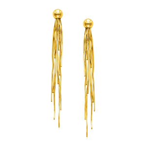 14k Yellow Gold Post Earrings with Polished Dangles