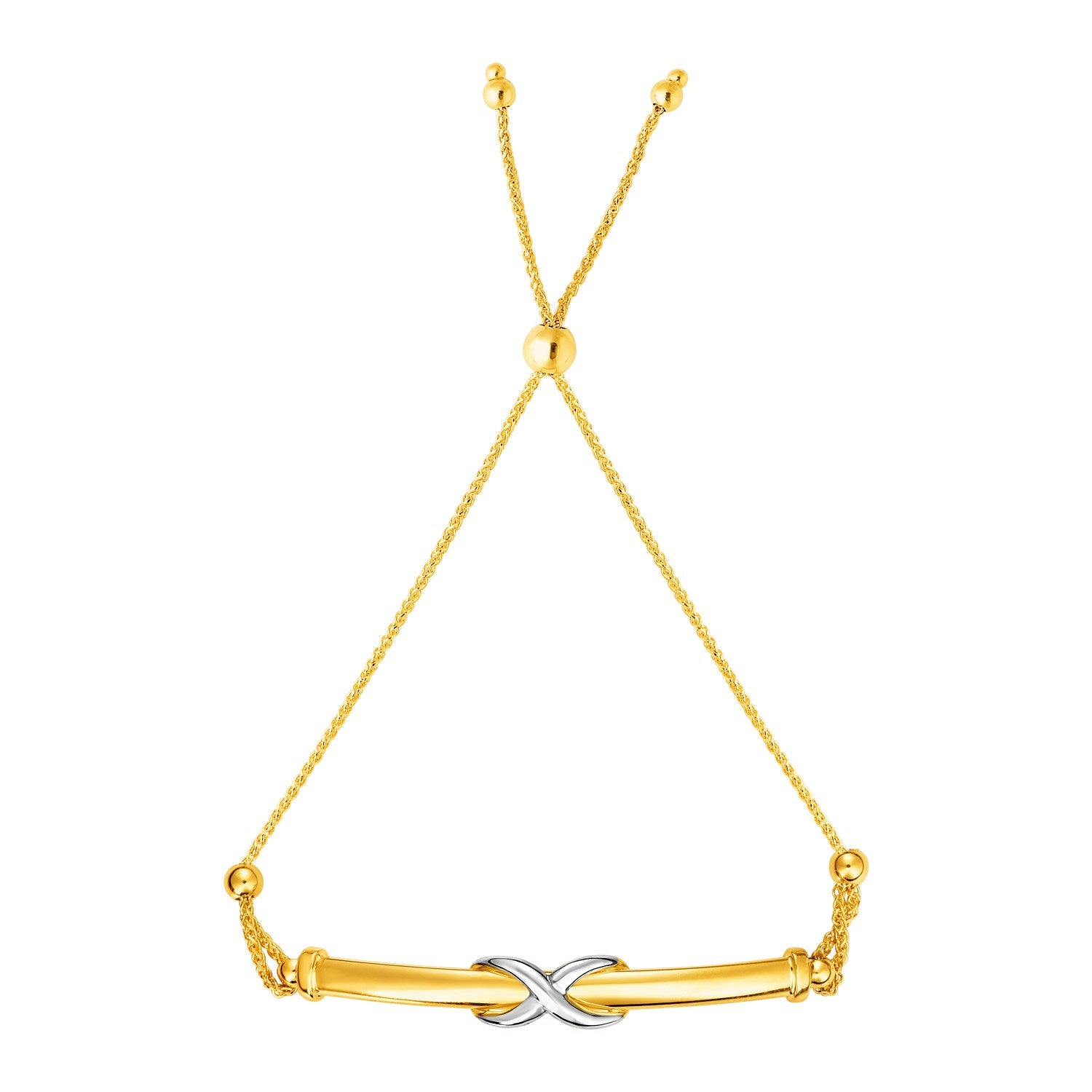 Adjustable Friendship Bracelet with Infinity Motif in 14k Yellow and White Gold