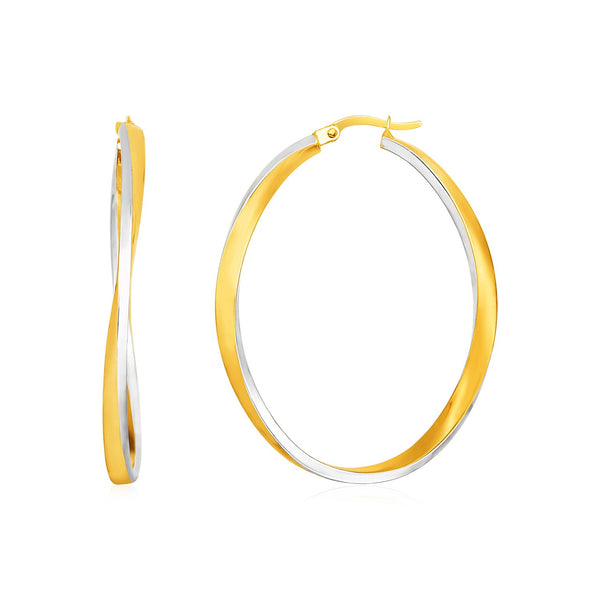14k Two Tone Gold Twisted Oval Hoop Earrings