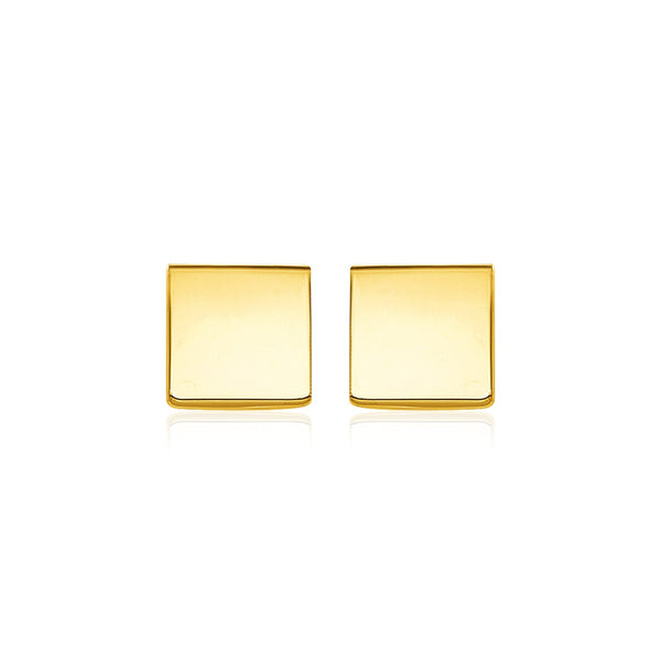 14k Yellow Gold Polished Square Post Earrings