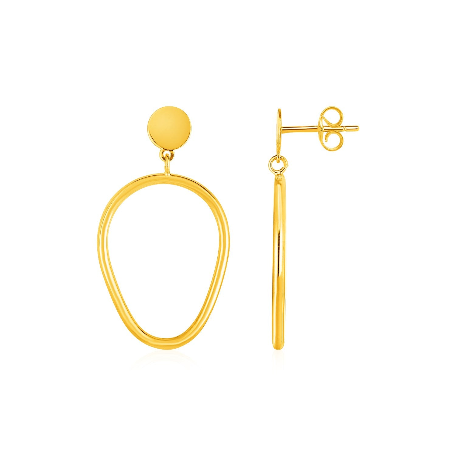 Shiny Pear Shaped Drop Earrings in 14k Yellow Gold