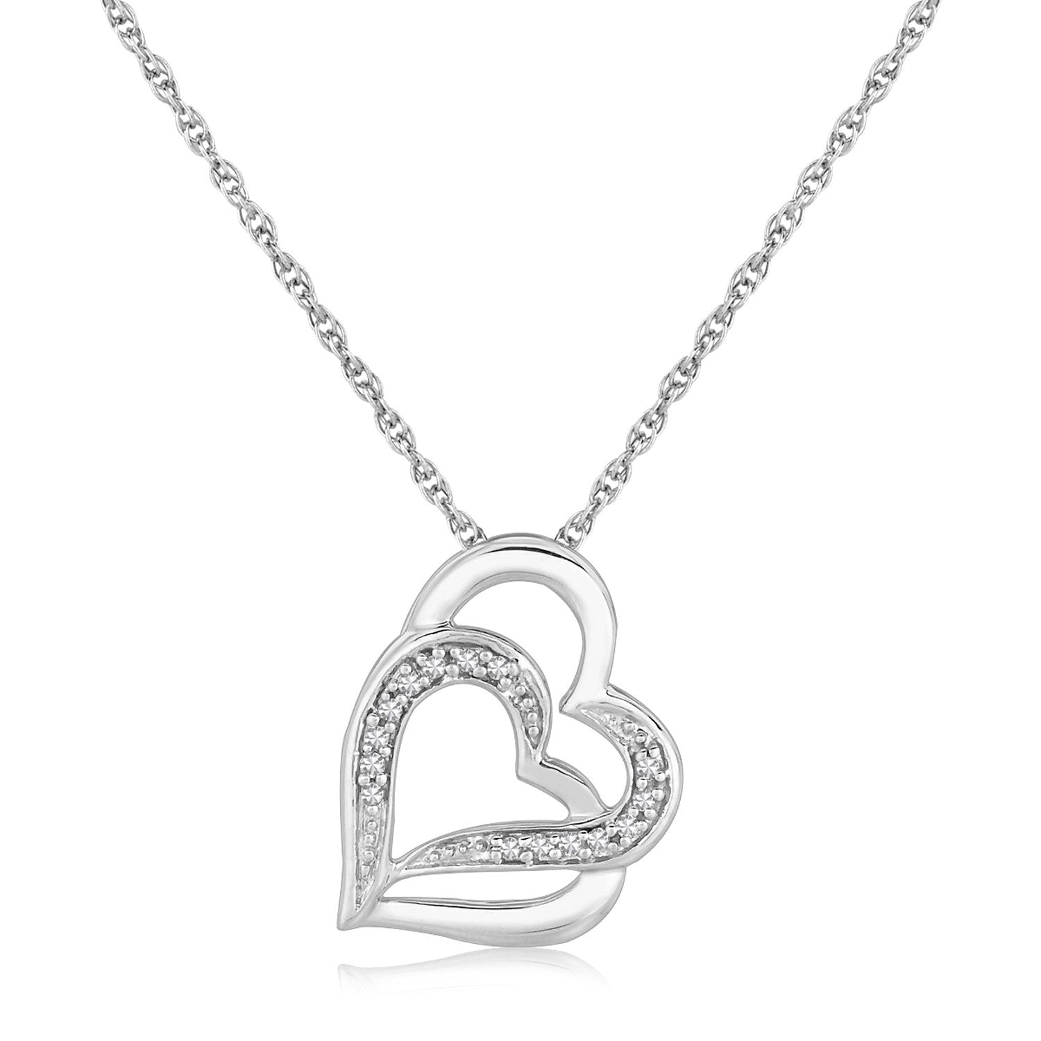 Sterling Silver Dual Heart Motif Pendant with Diamonds (.06 cttw)