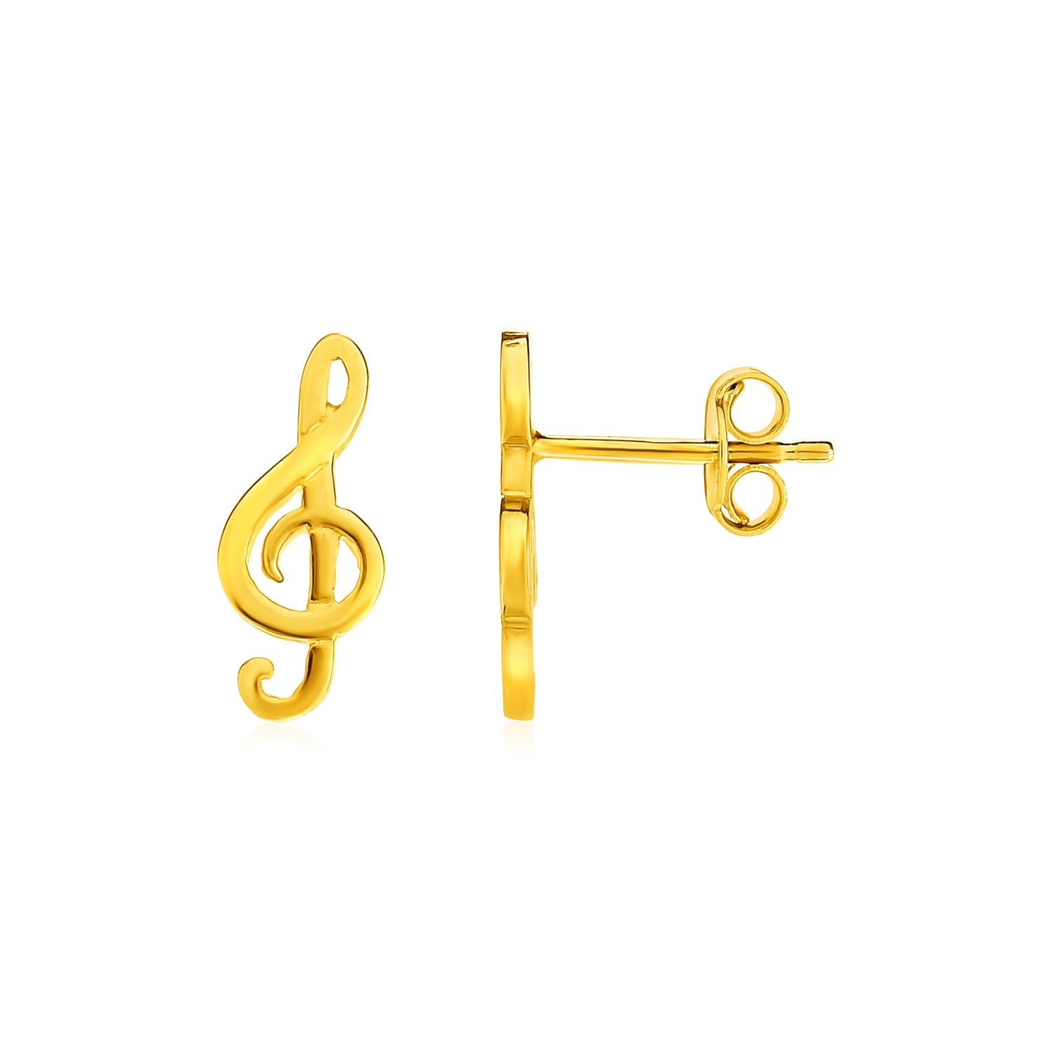 14k Yellow Gold Post Earrings with Treble Clefs