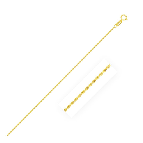 10k Yellow Gold Diamond Cut Rope Anklet 1.25mm