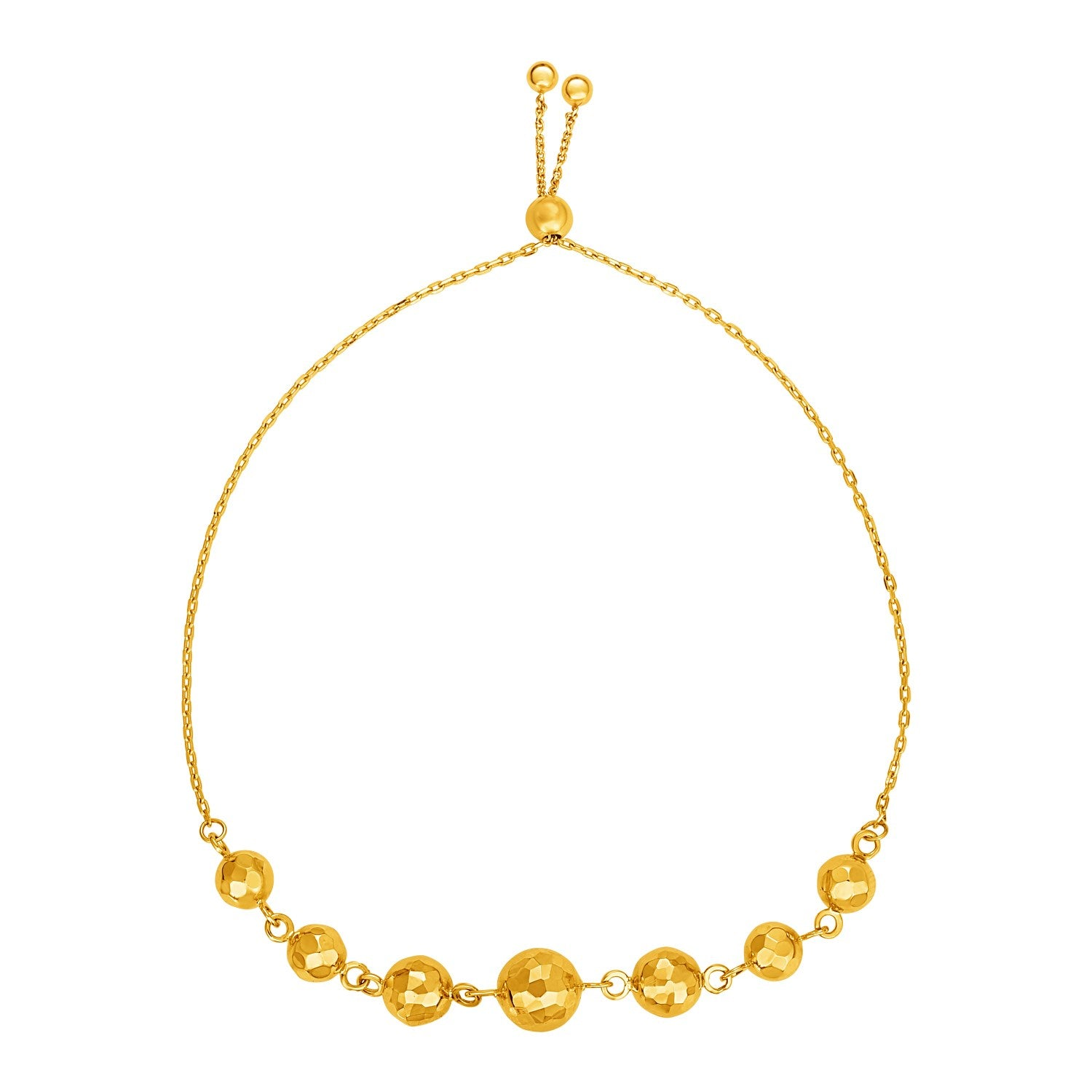 Adjustable Bracelet with Textured Spheres in 14k Yellow Gold