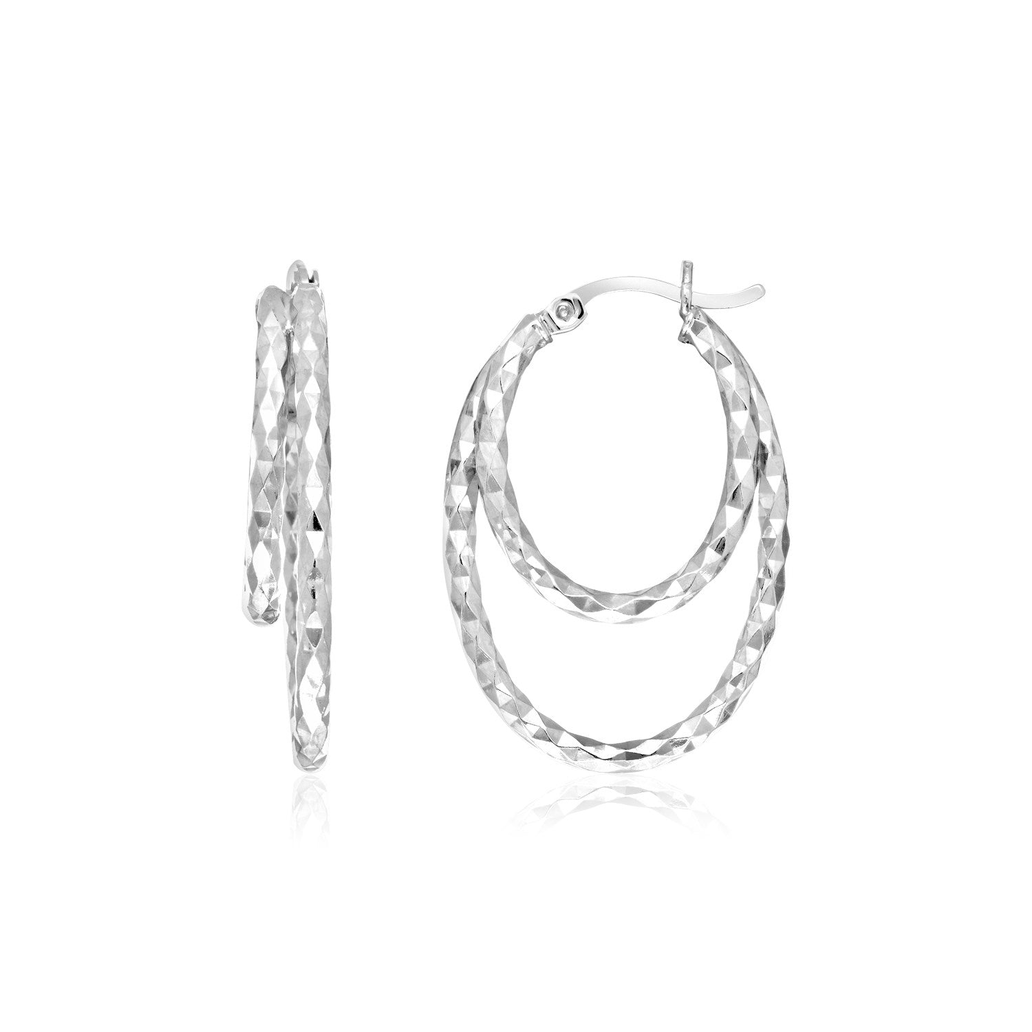 Sterling Silver Double Oval Textured Hoop Earrings
