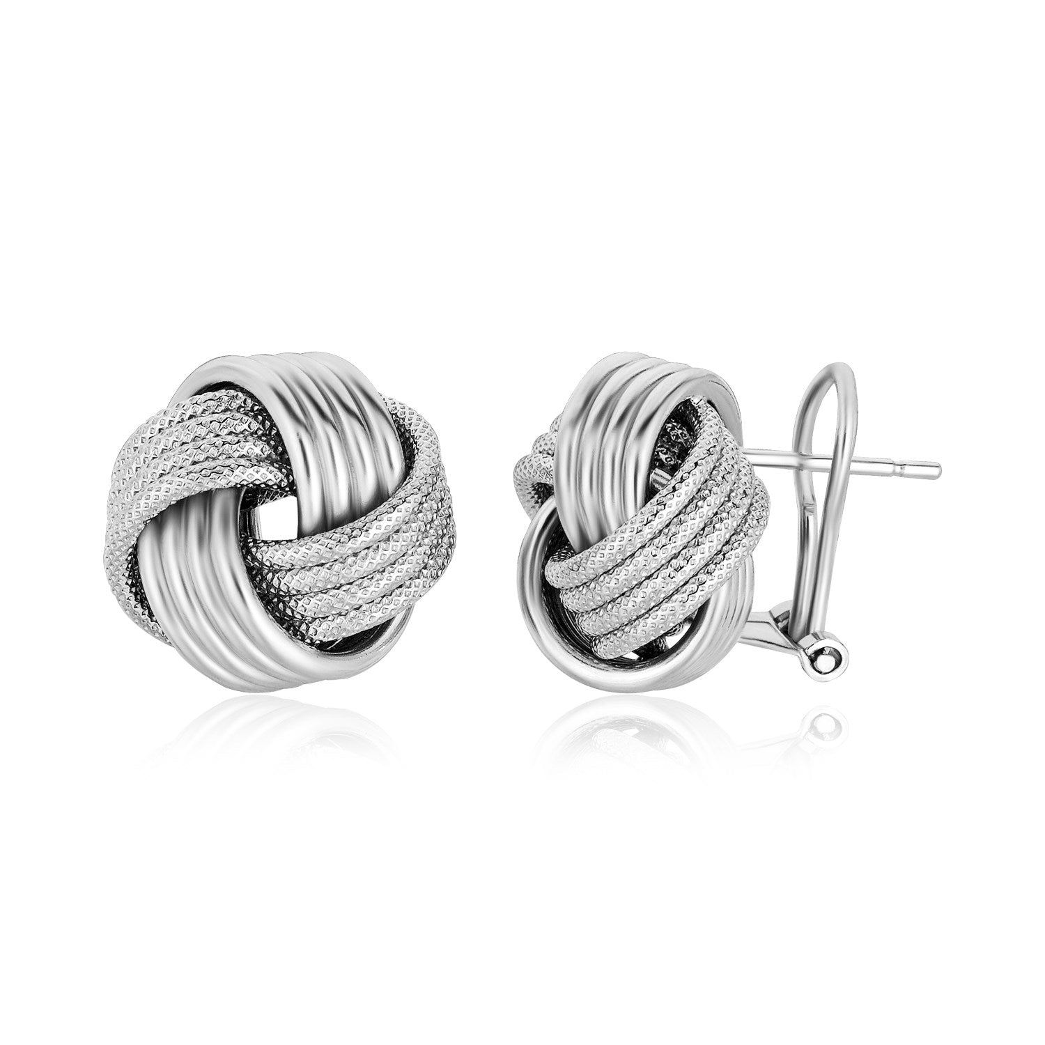 Sterling Silver Groove Textured Love Knot Earrings