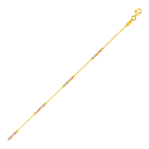 14k Tri Color Gold Anklet with Textured Beads